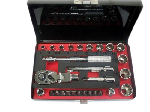 28Pc 1/4 Dr Socket Wrench & Bit Set